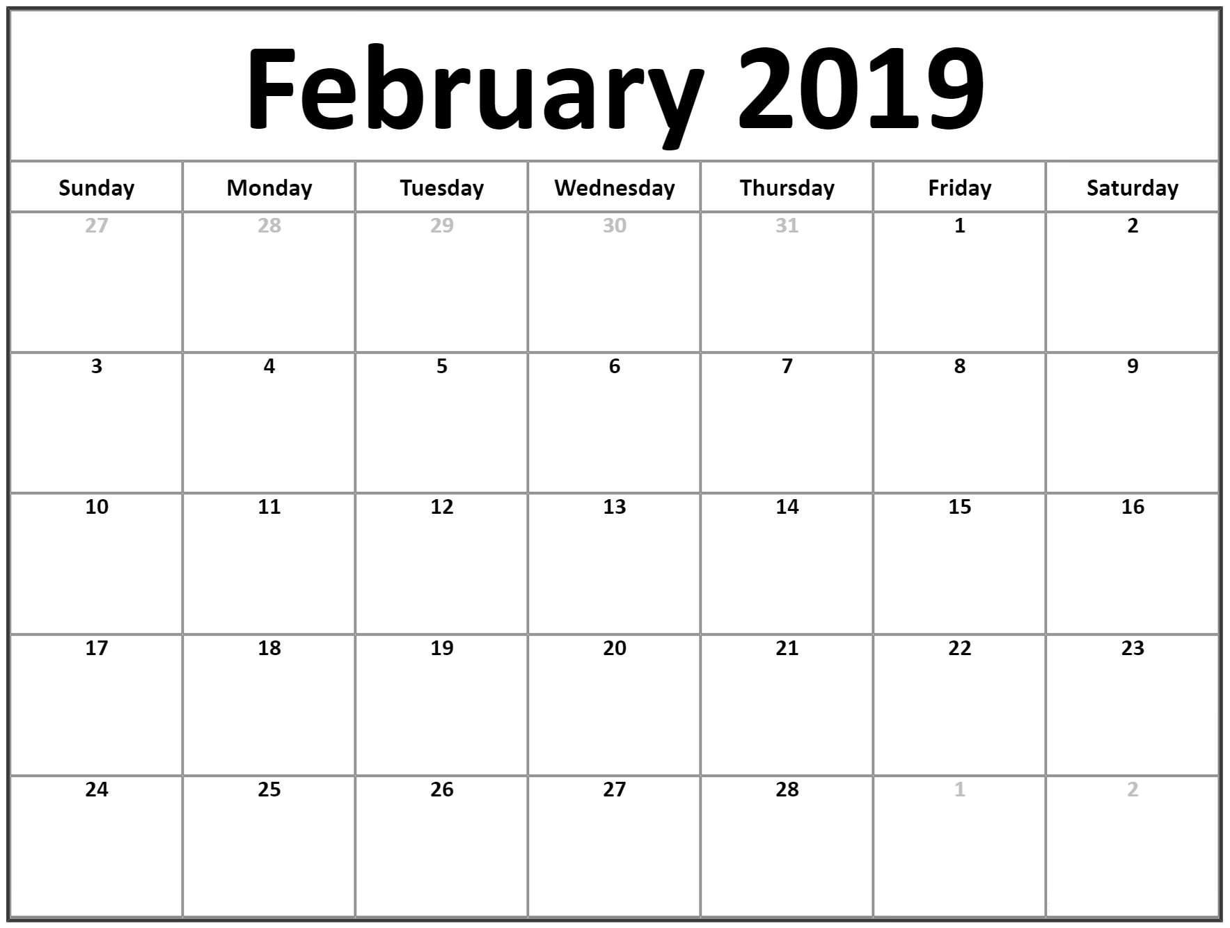 Blank February 2019 Calendar Printable - Free Printable Calendar