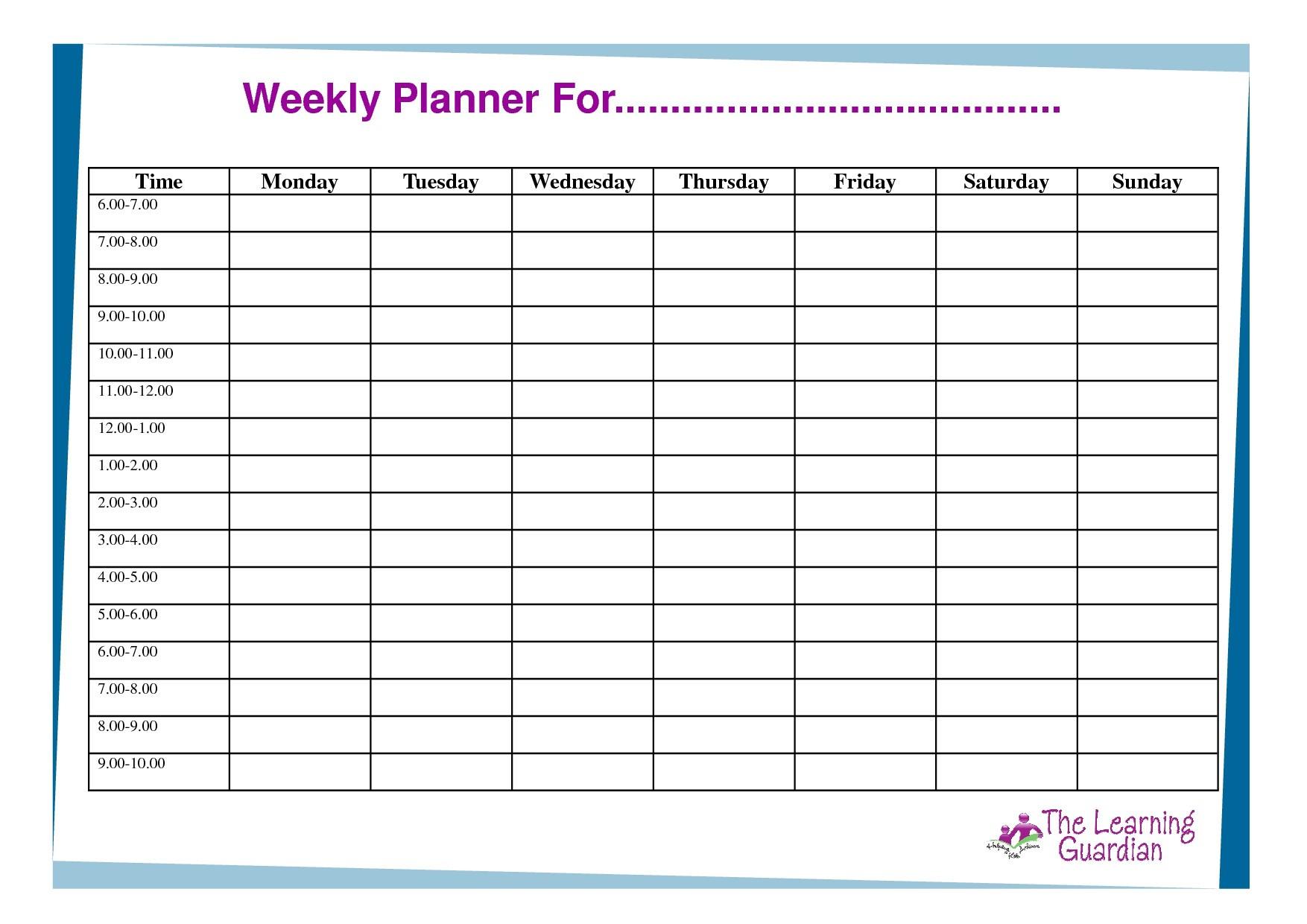 Blank Hourly Calendar Template