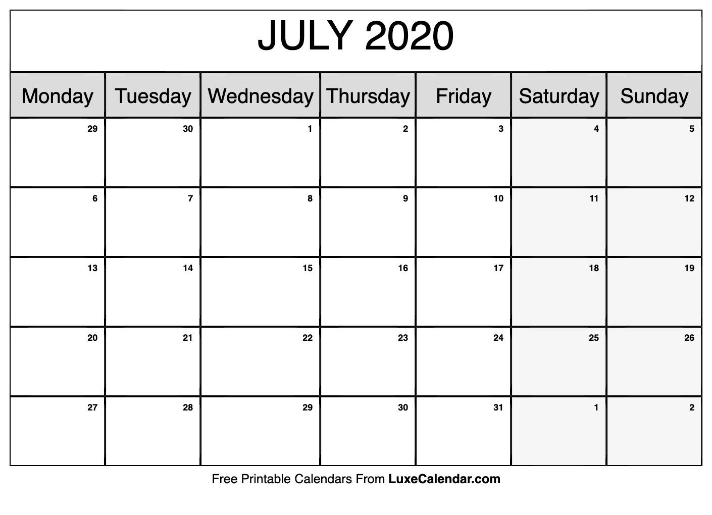 Blank July 2020 Calendar Printable - Luxe Calendar