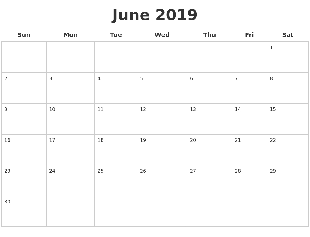 Blank June 2019 Calendar Template In Pdf, Jpg And Png Format - Free