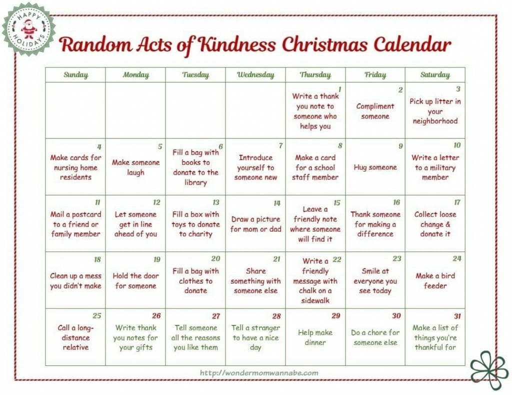 Blank Kindness Calendar Photo