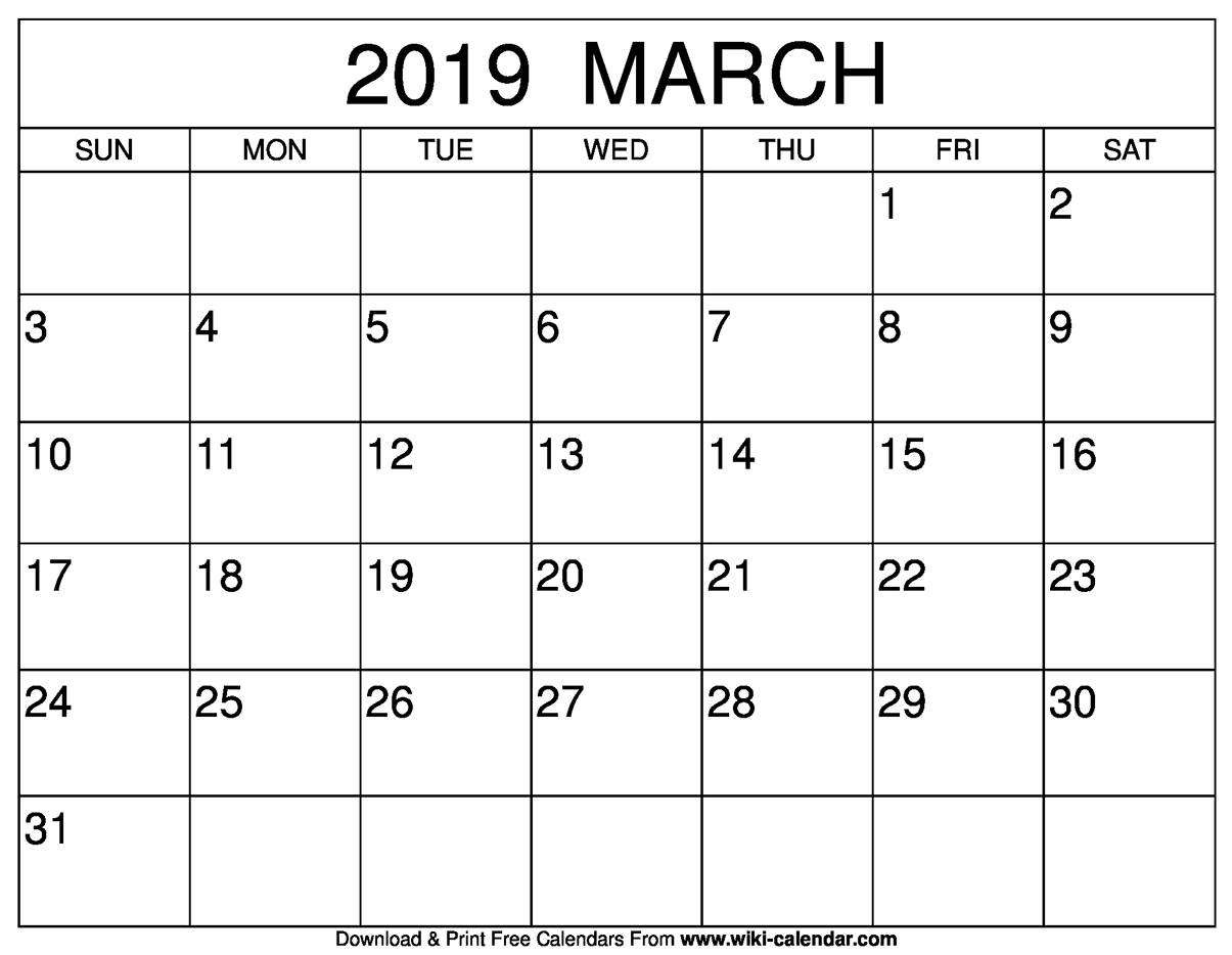 Blank March 2019 Calendar Printable