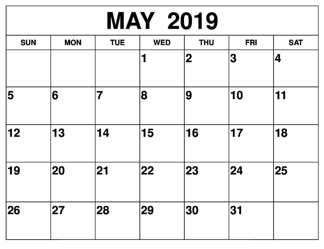Blank May 2019 Calendar Editable Template - Free Printable Calendar
