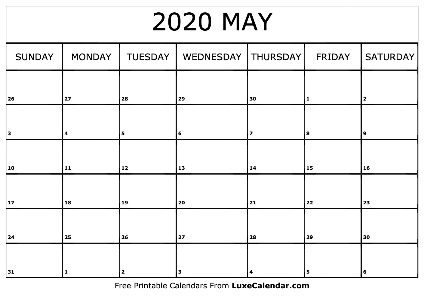 Blank May 2020 Calendar Printable - Luxe Calendar