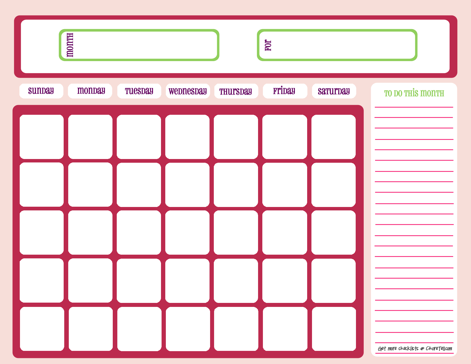 Blank Month Calendar - Pinks - Free Printable Downloads From Choretell