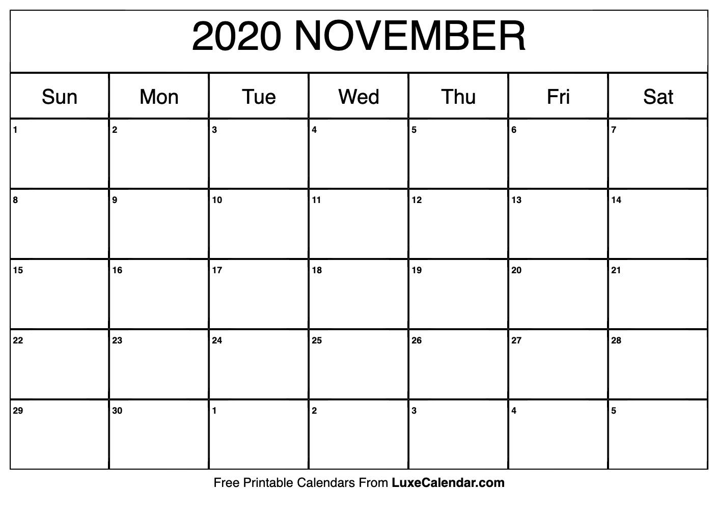 Blank November 2020 Calendar Printable - Luxe Calendar