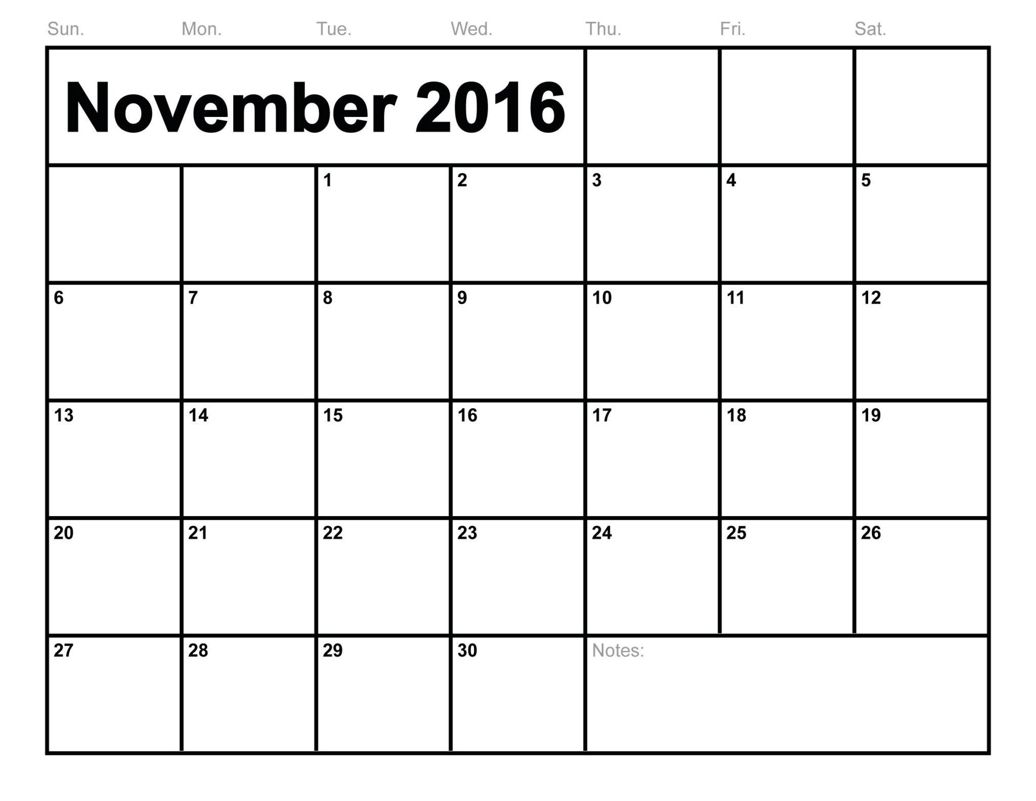 Blank November Monthly Calendar