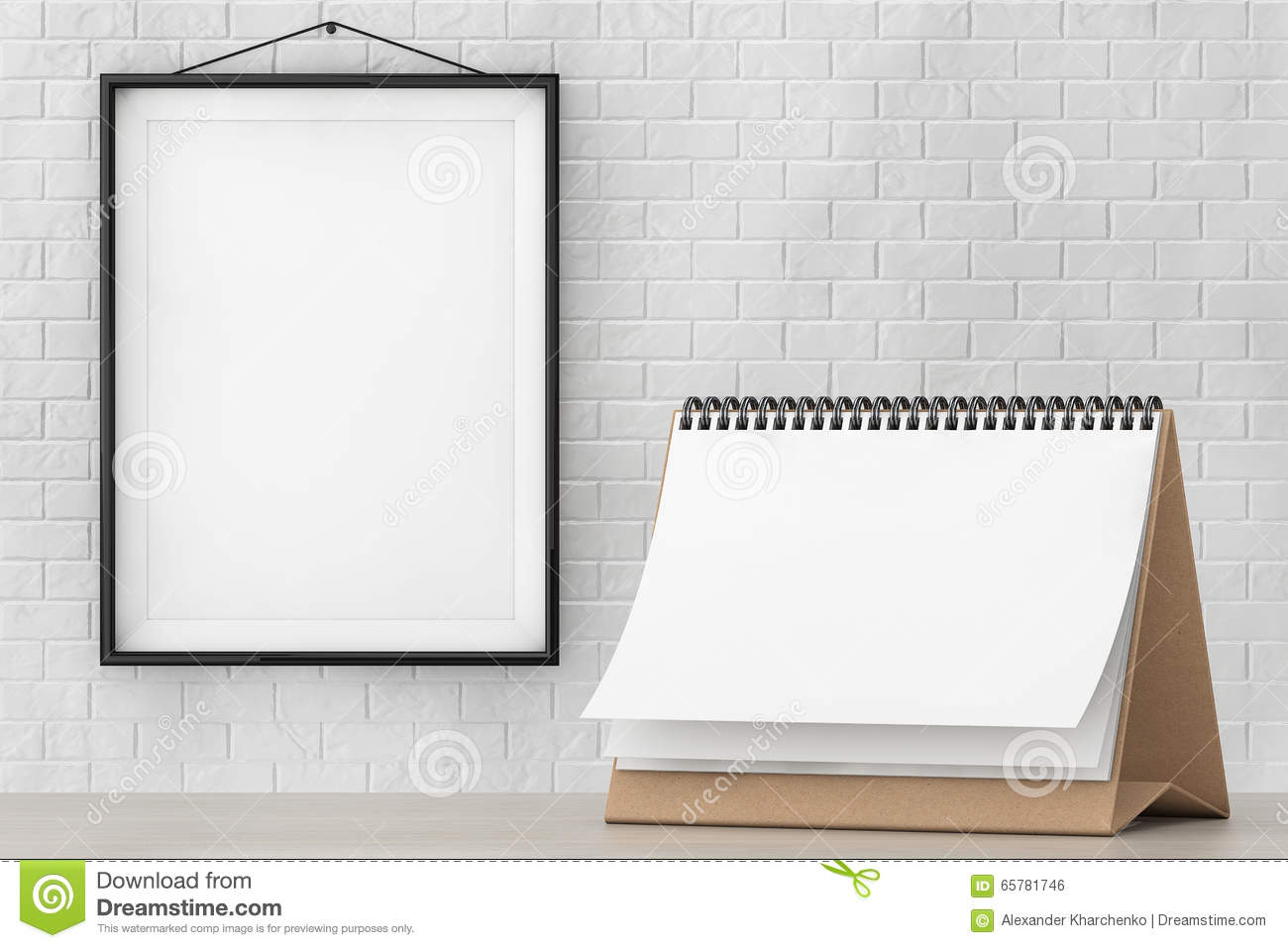Blank Paper Desk Spiral Calendar In Front Of Brick Wall With Frame