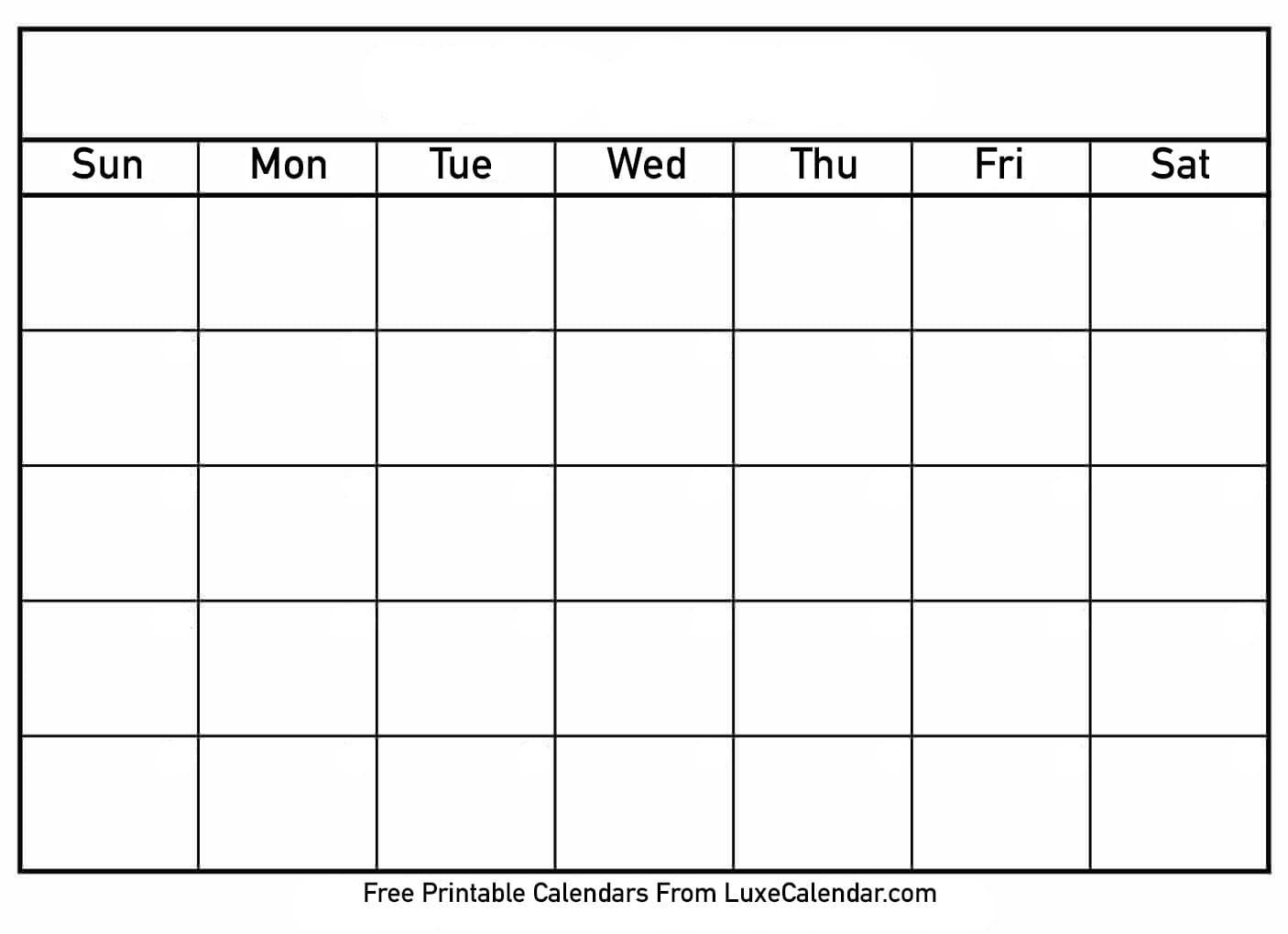 Blank Printable Calendar - Luxe Calendar