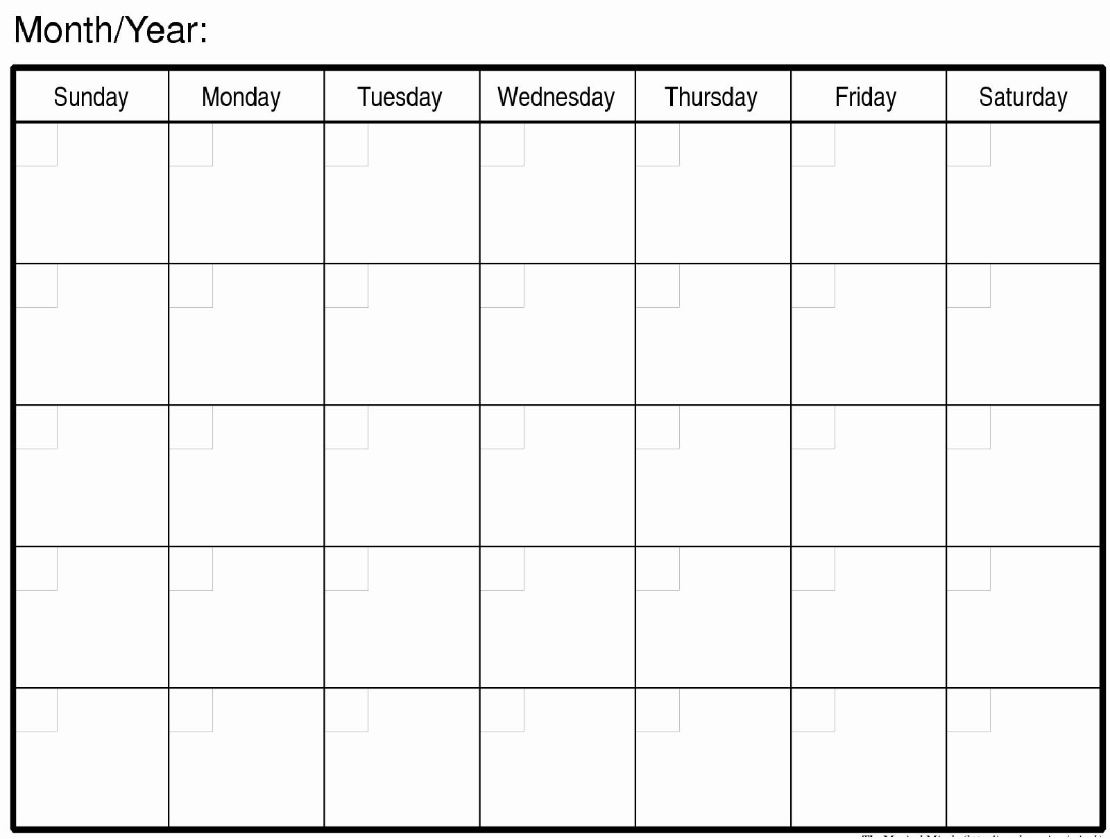 Blank Printable Calendar Pages Blank Calendar To Print Blank
