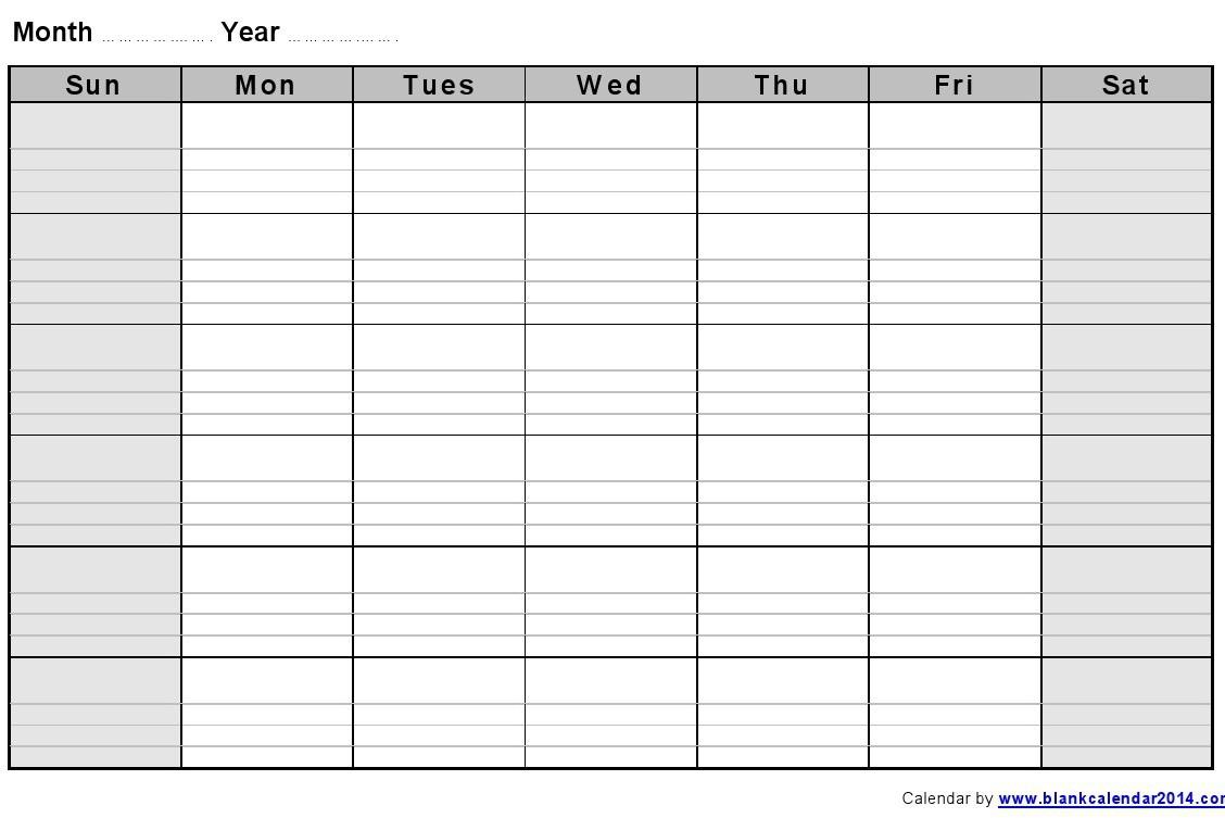 Blank Printable Monthly Calendar Monthly Blank Calendar Notes