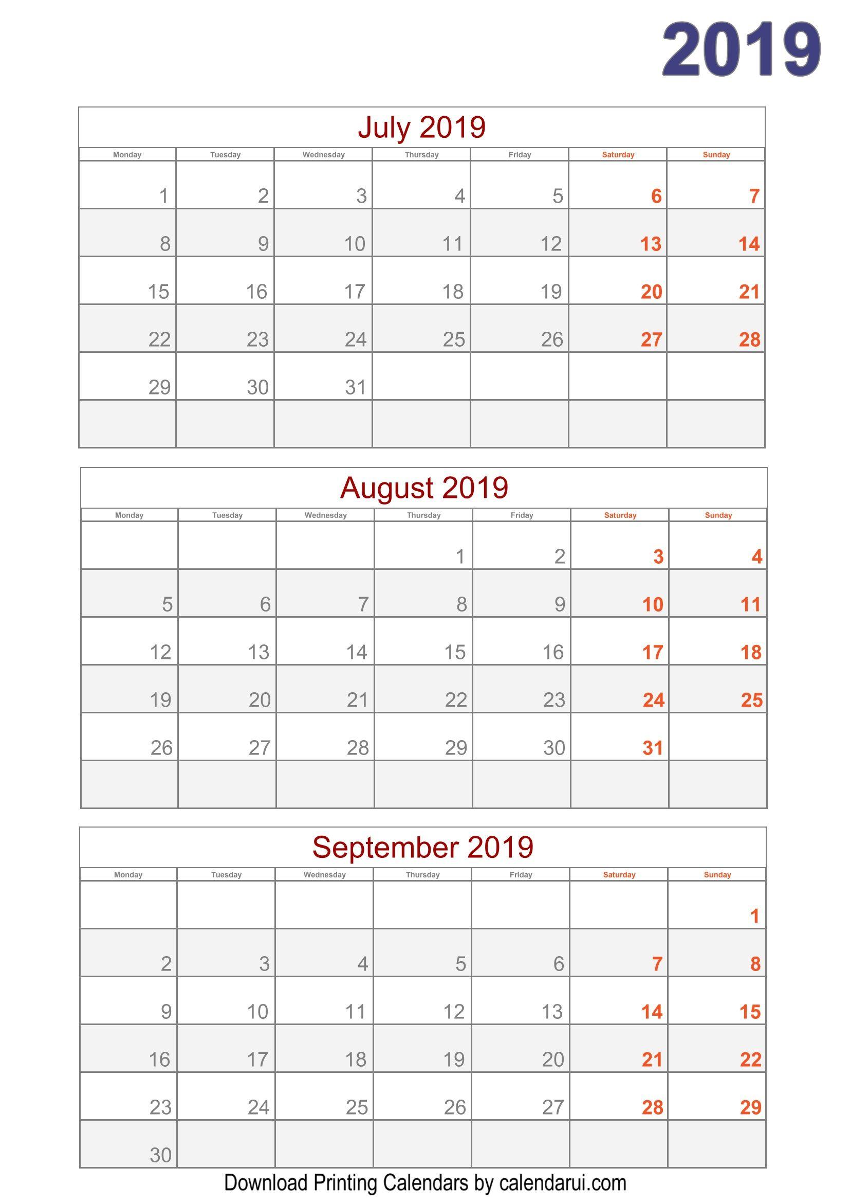 Blank Quarterly Calendar Template