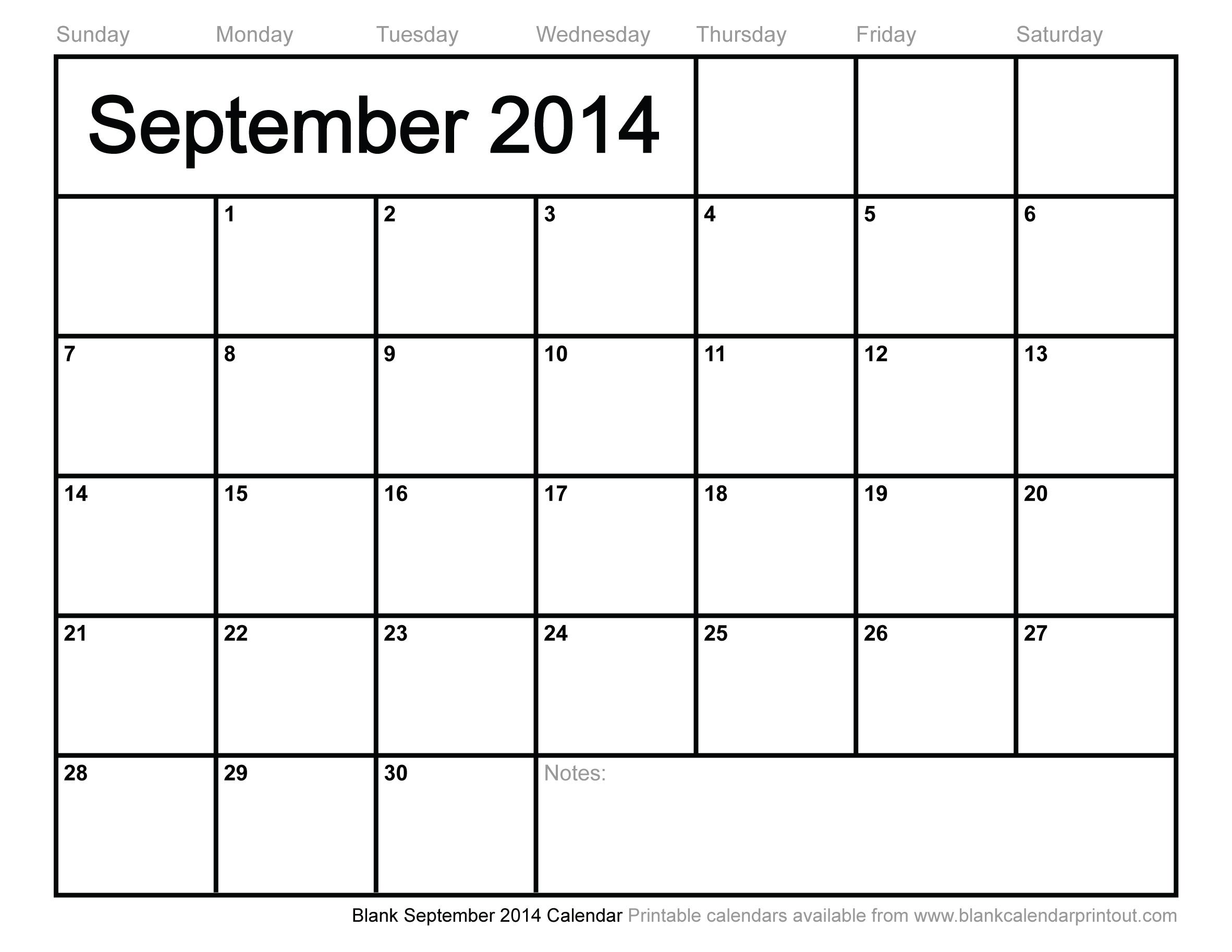 Blank September 2014 Calendar To Print
