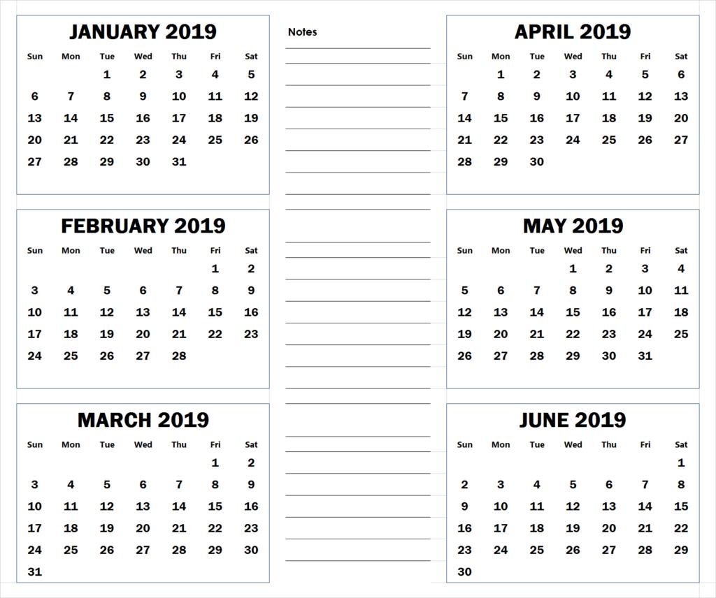 Blank Six Month 2019 Printable Calendar