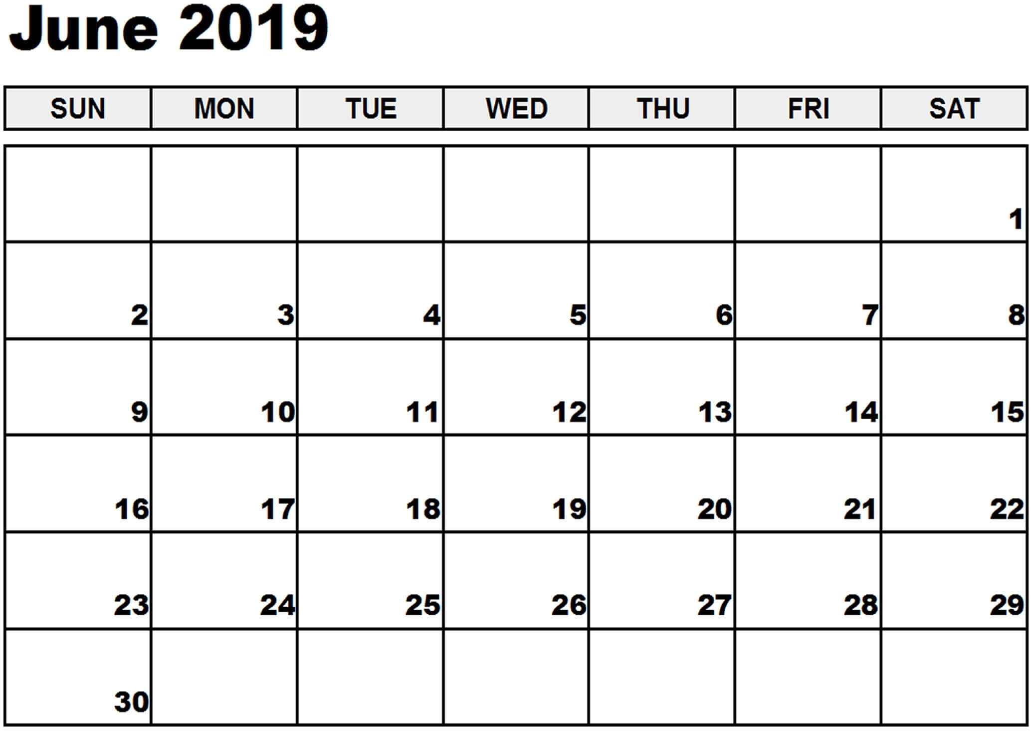 Blank Universal Calendar