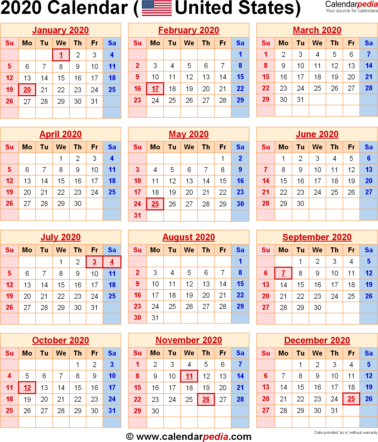 Blank Vacation Calendar