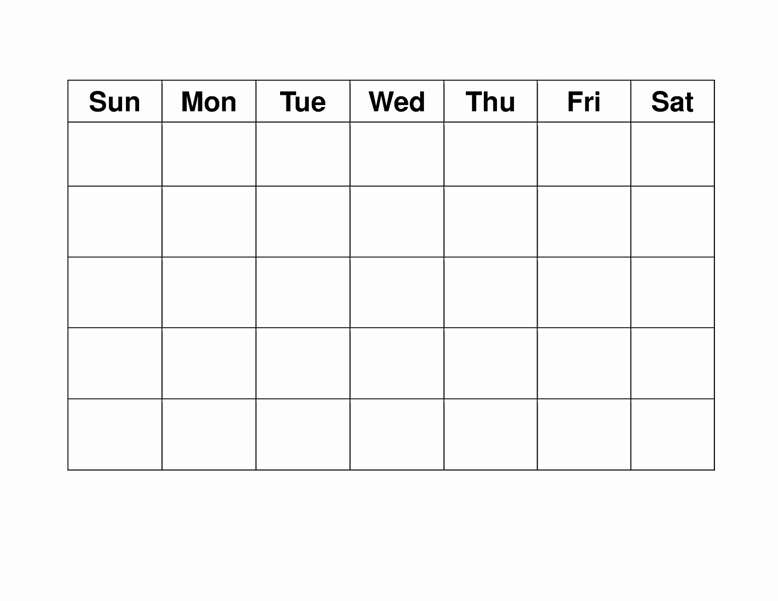 Blank Weekly Calendar Monday Through Friday Schedule Template To