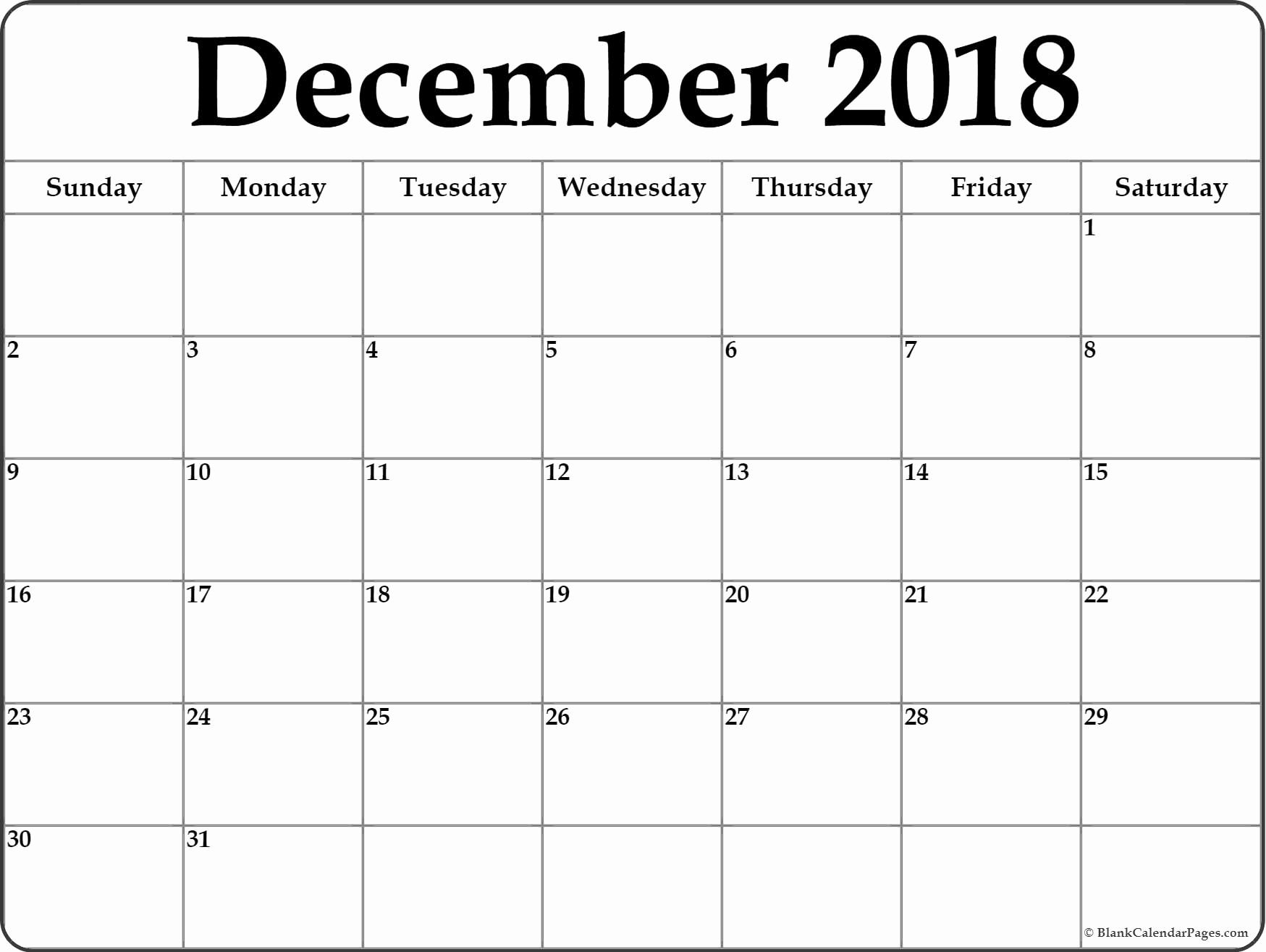 Bravo Blank Calendars December 2019 Printable — Unique Table Calendar