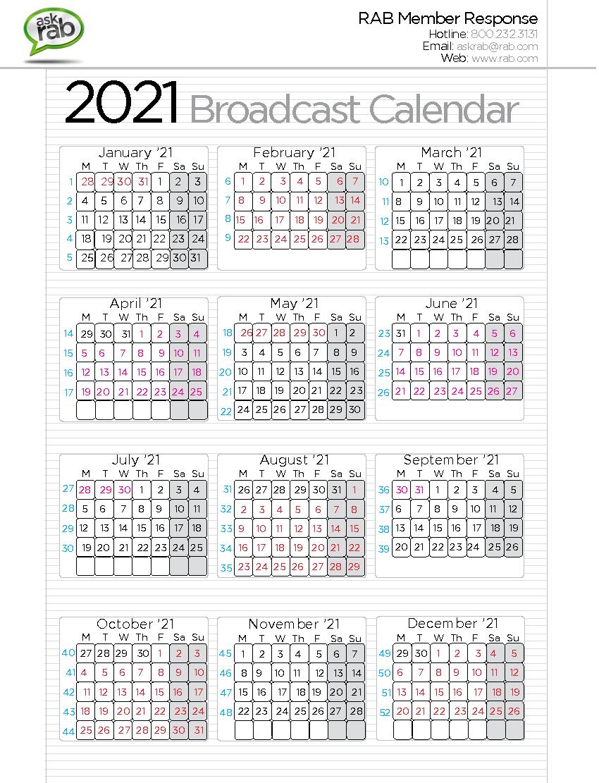 Broadcast Calendars