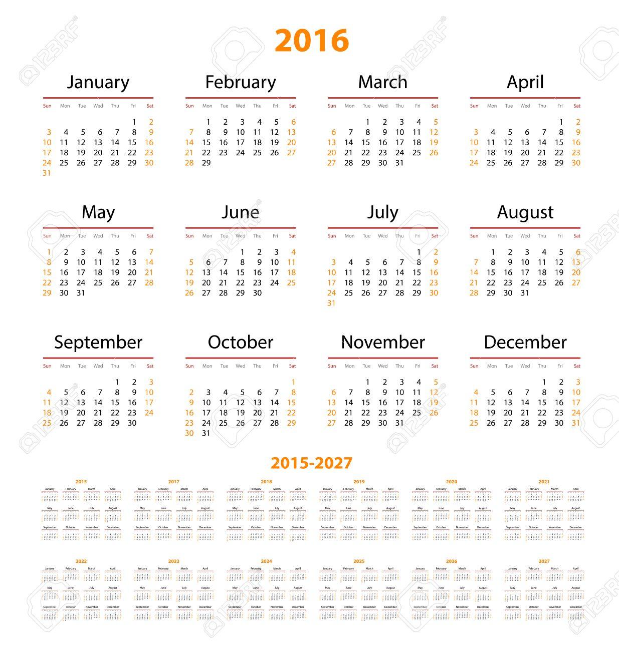 Calendar 2015, 2016, 2017, 2018, 2019, 2020, 2021, 2022, 2023