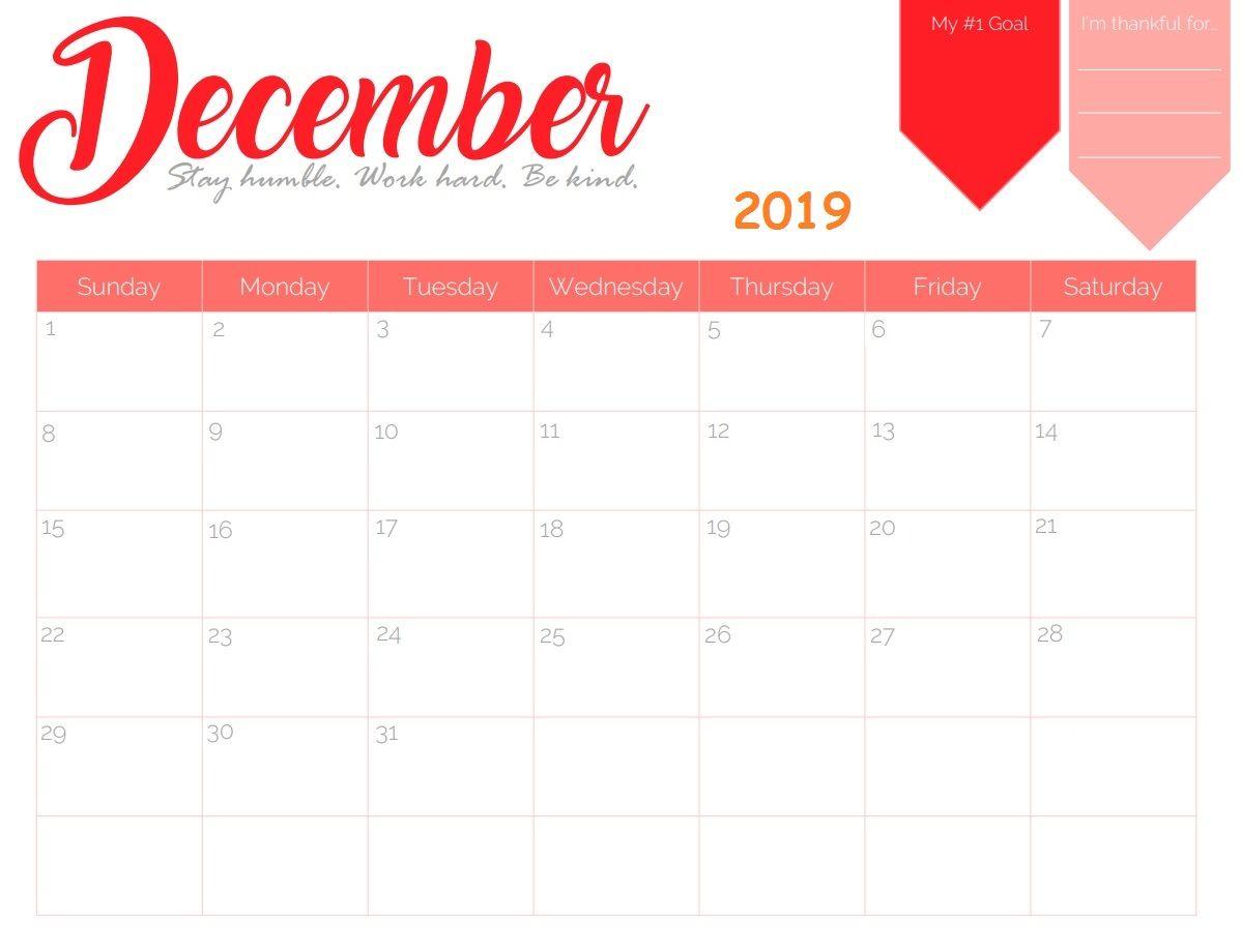 Calendar 2018 In 2019