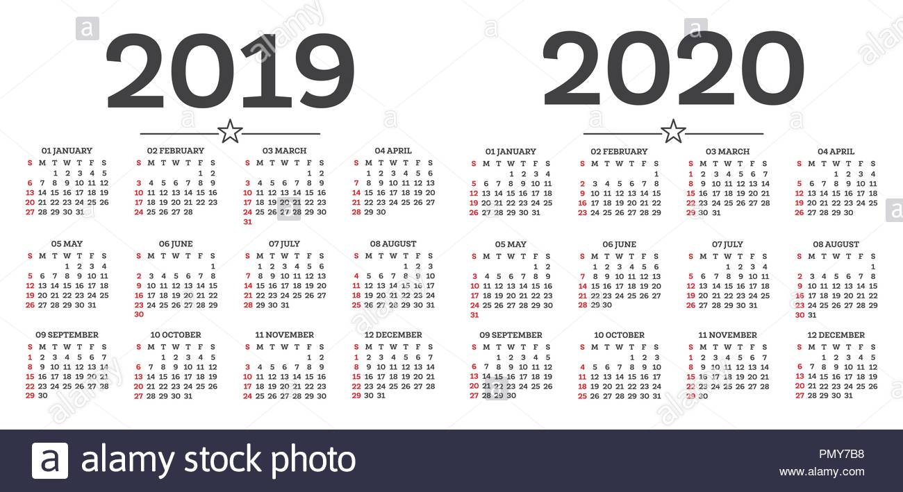 Calendar 2019 2020 Isolated On White Background. Week Starts From