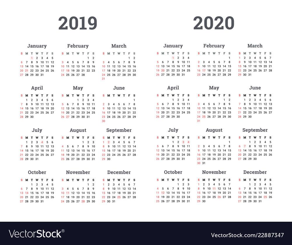 Calendar 2019 2020 Year Royalty Free Vector Image