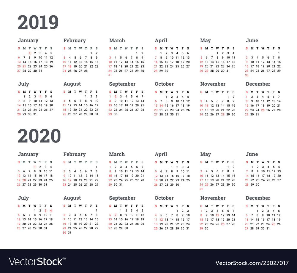 Calendar 2019 2020 Year - Wee Royalty Free Vector Image