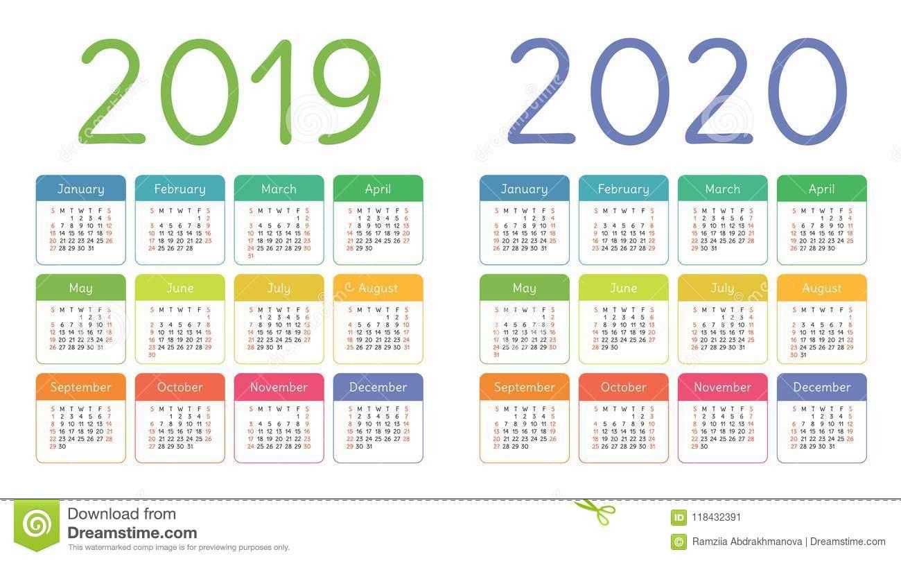 Calendar 2019, 2020 Years. Colorful Calender Set. Week Starts Stock