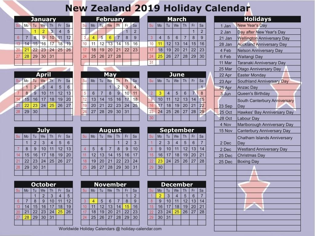 Calendar 2019 And 2020 Nz