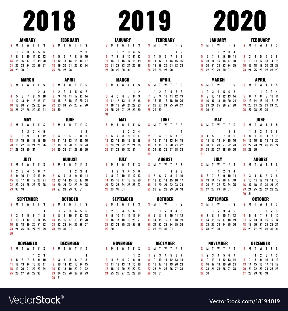 Calendar 2019 Cny With Template 2018 And 2020 Years Vector Image