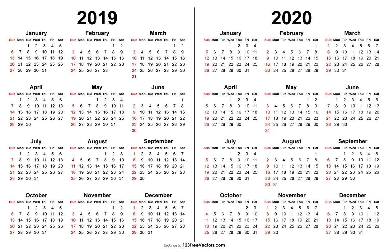 Calendar 2019 Printable 2020