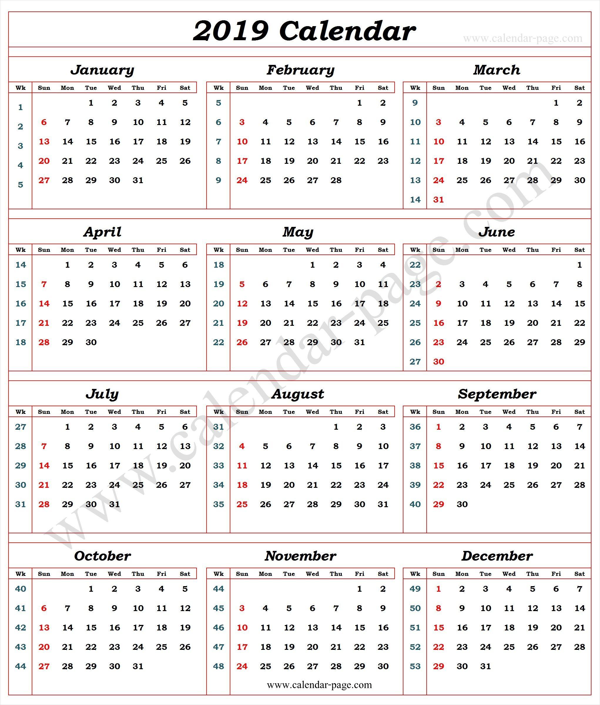 Calendar 2019 With Week Numbers
