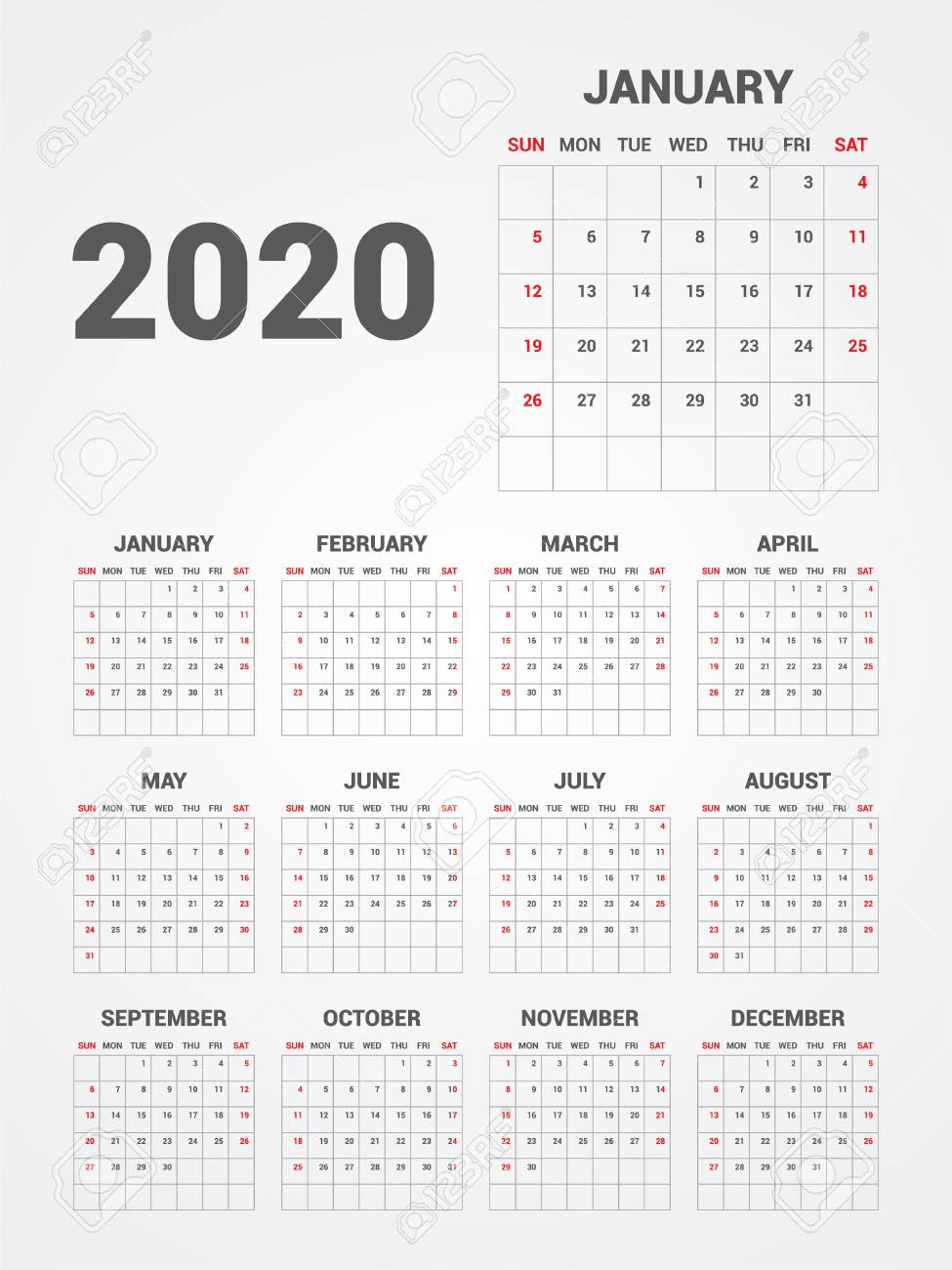Calendar 2020. Eps 10. Royalty Free Cliparts, Vectors, And Stock