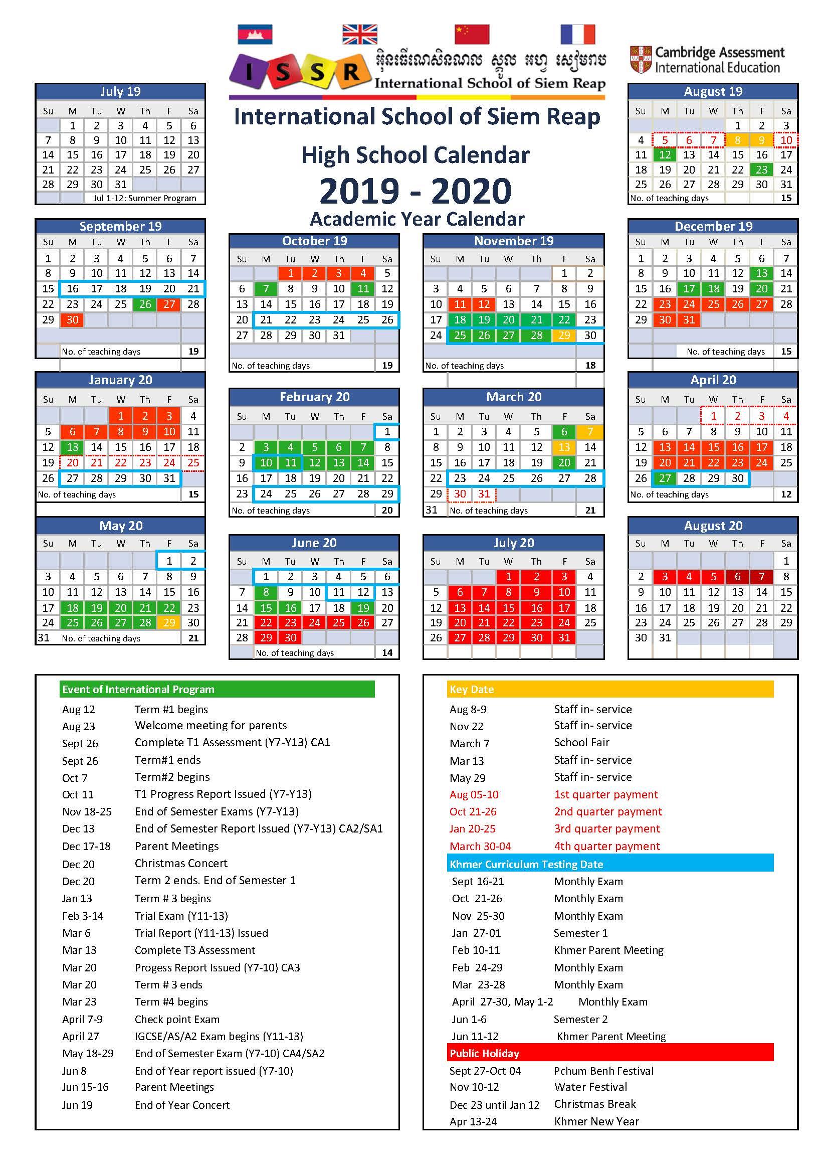 Calendar 2020 Khmer