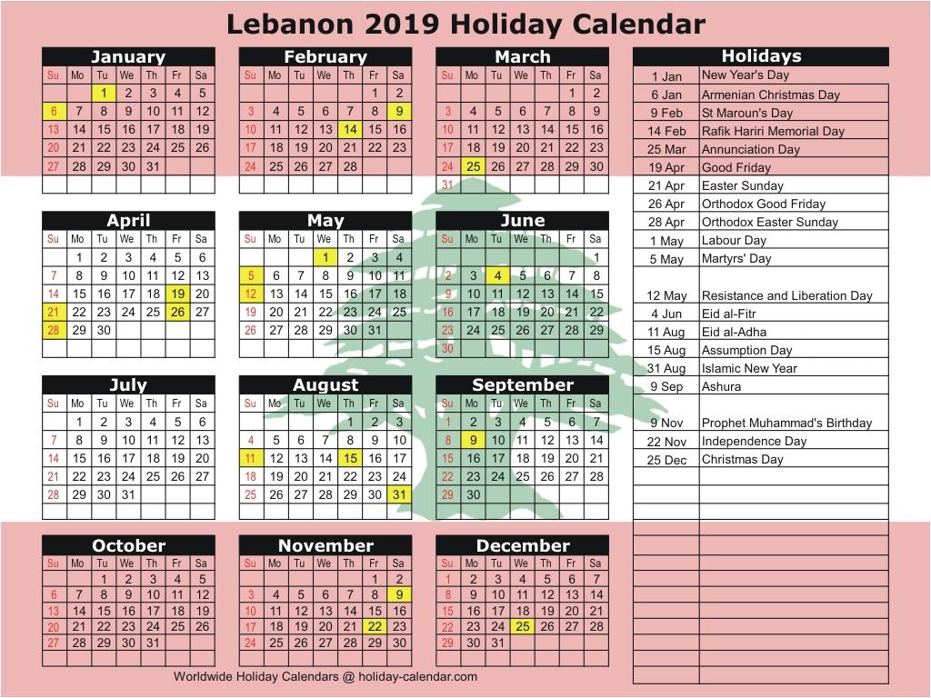 Calendar 2020 Lebanon
