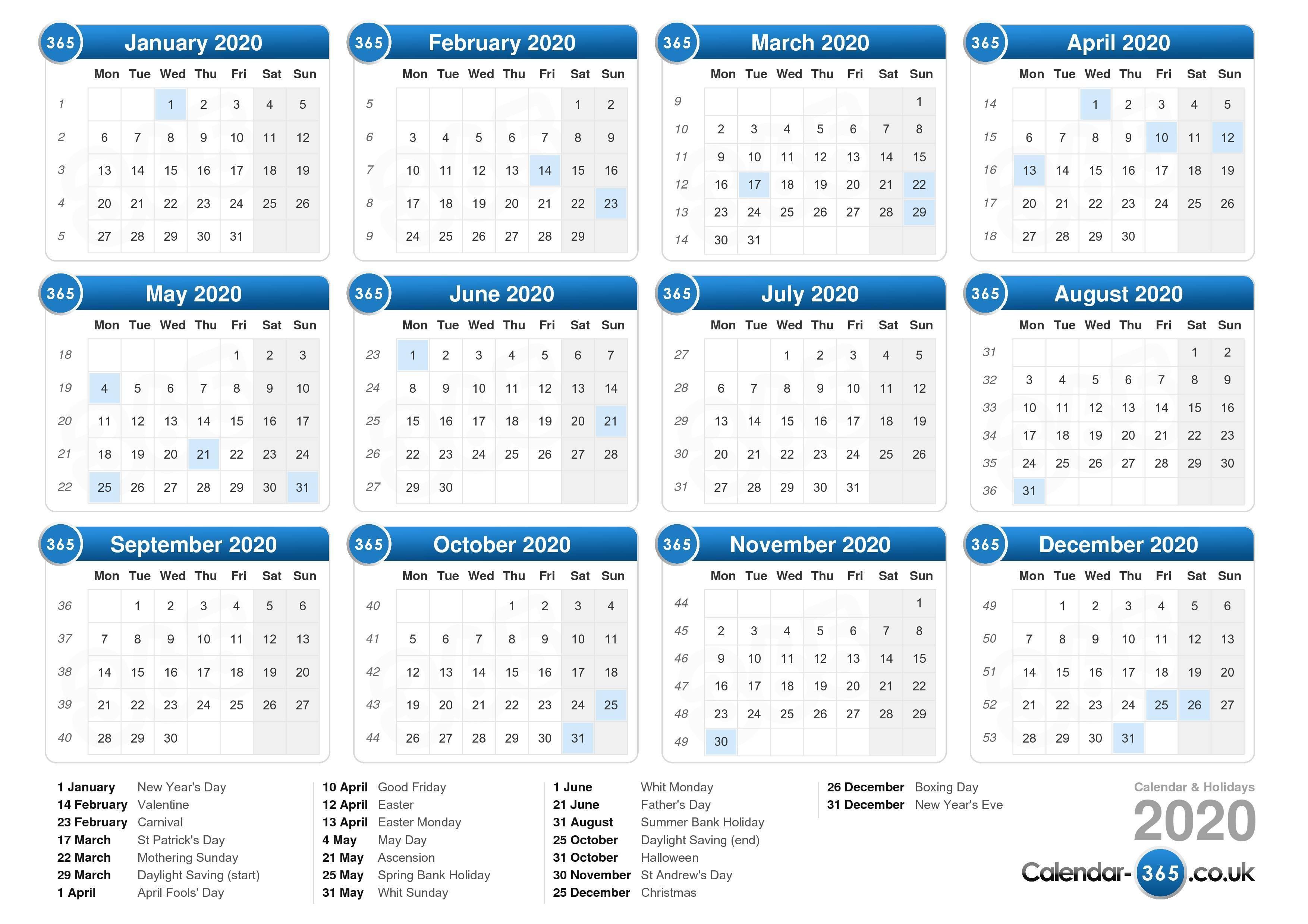 Calendar 2020 Mauritius