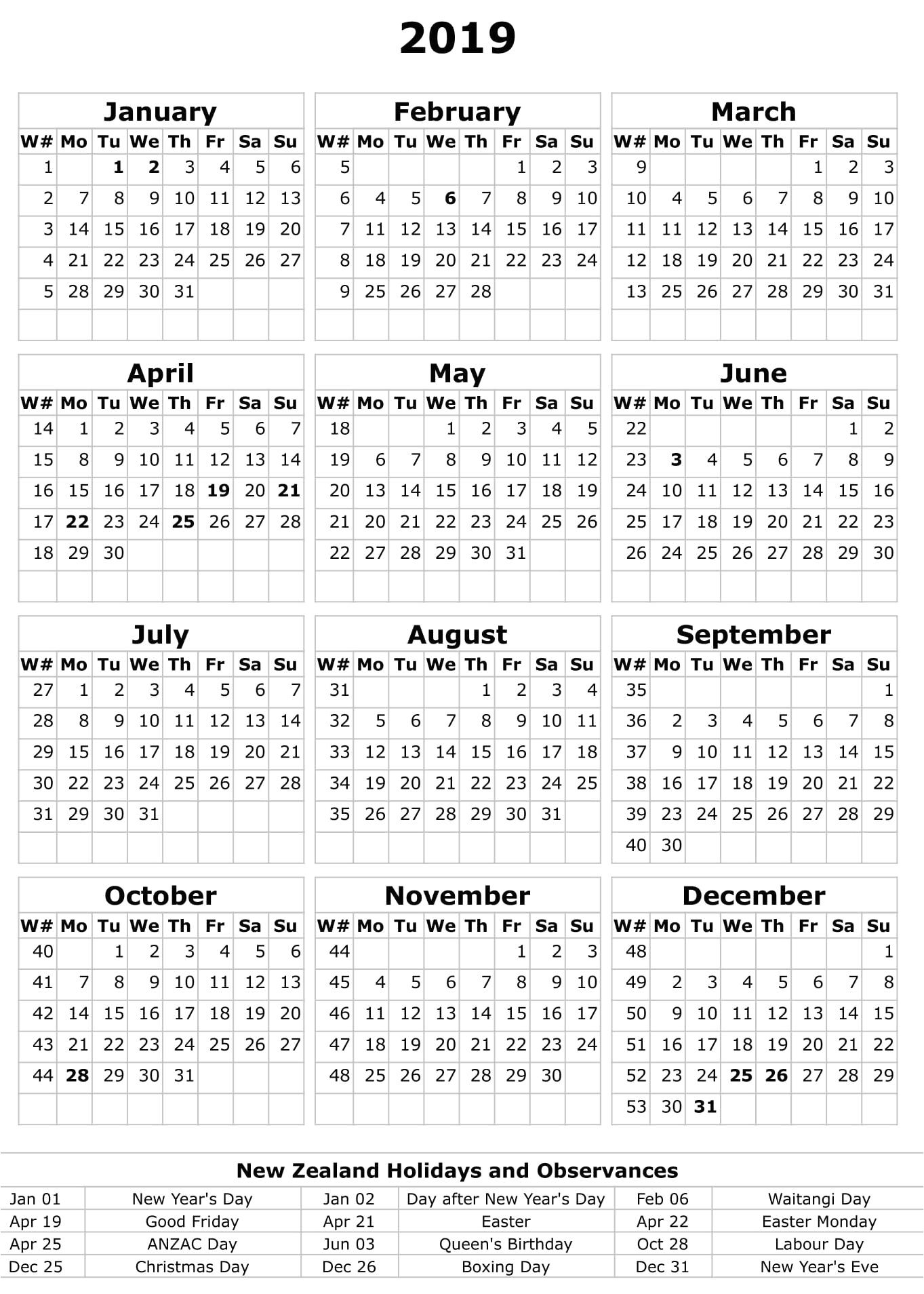 Calendar 2020 Printable With Holidays Nz - Elephant Calendar 2019