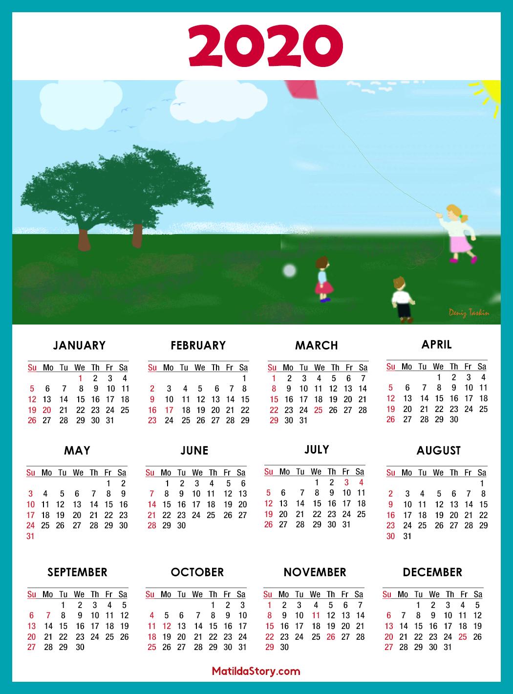 Calendar 2020 Printable With Us Holidays Ss – Matildastory