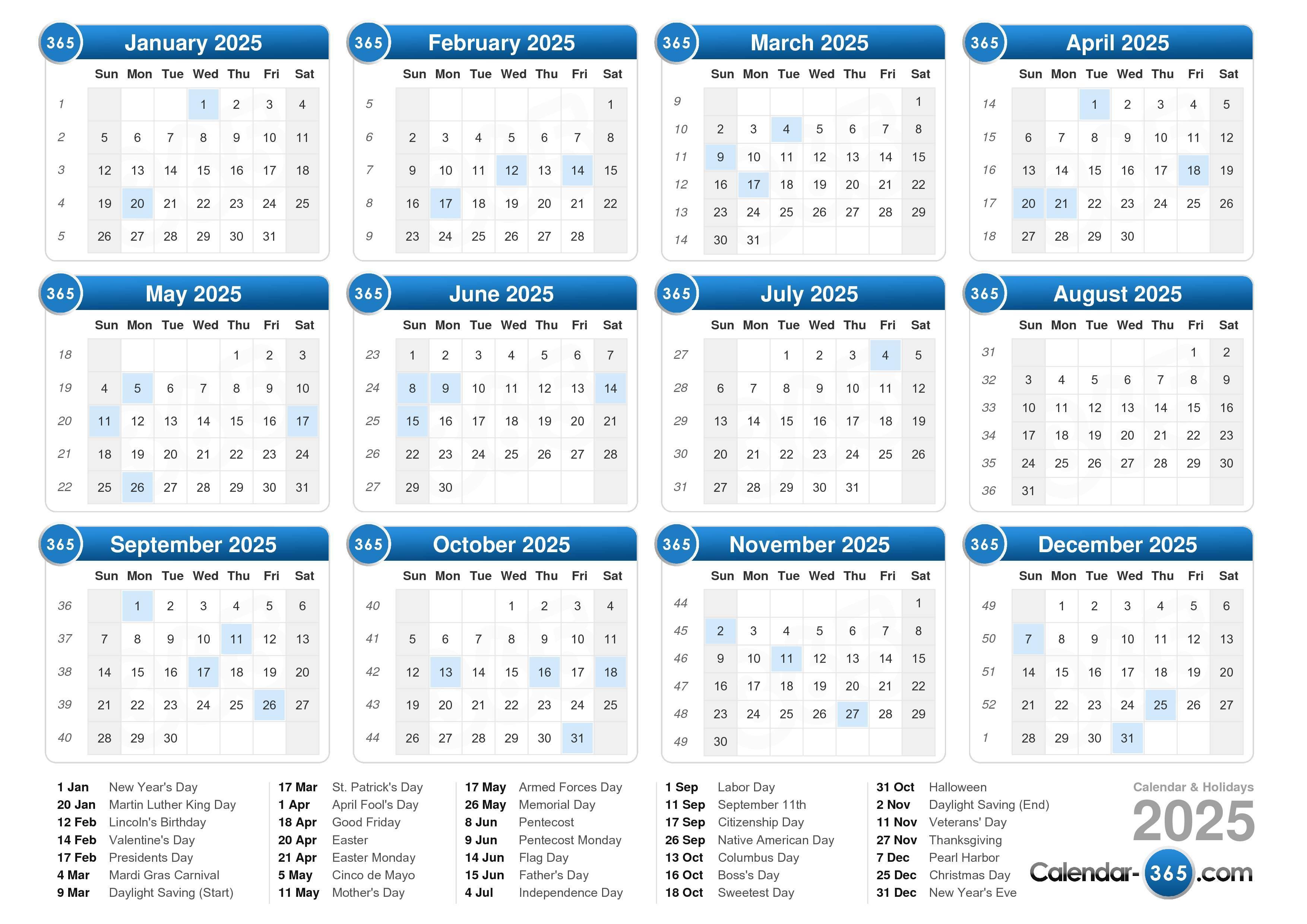 Calendar 2020 To 2025