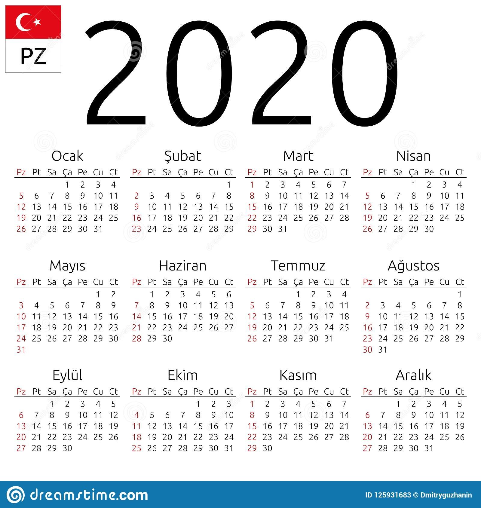 Calendar 2020, Turkish, Sunday Stock Vector - Illustration Of 2020
