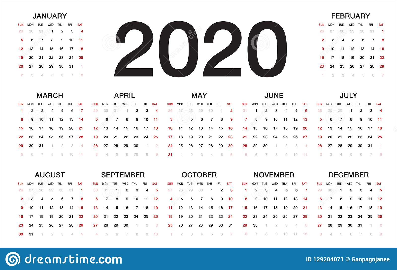 Calendar 2020, Week Starts From Sunday, Business Template Stock