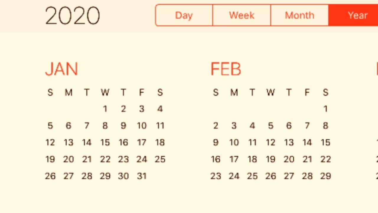 Calendar 2020 - Youtube