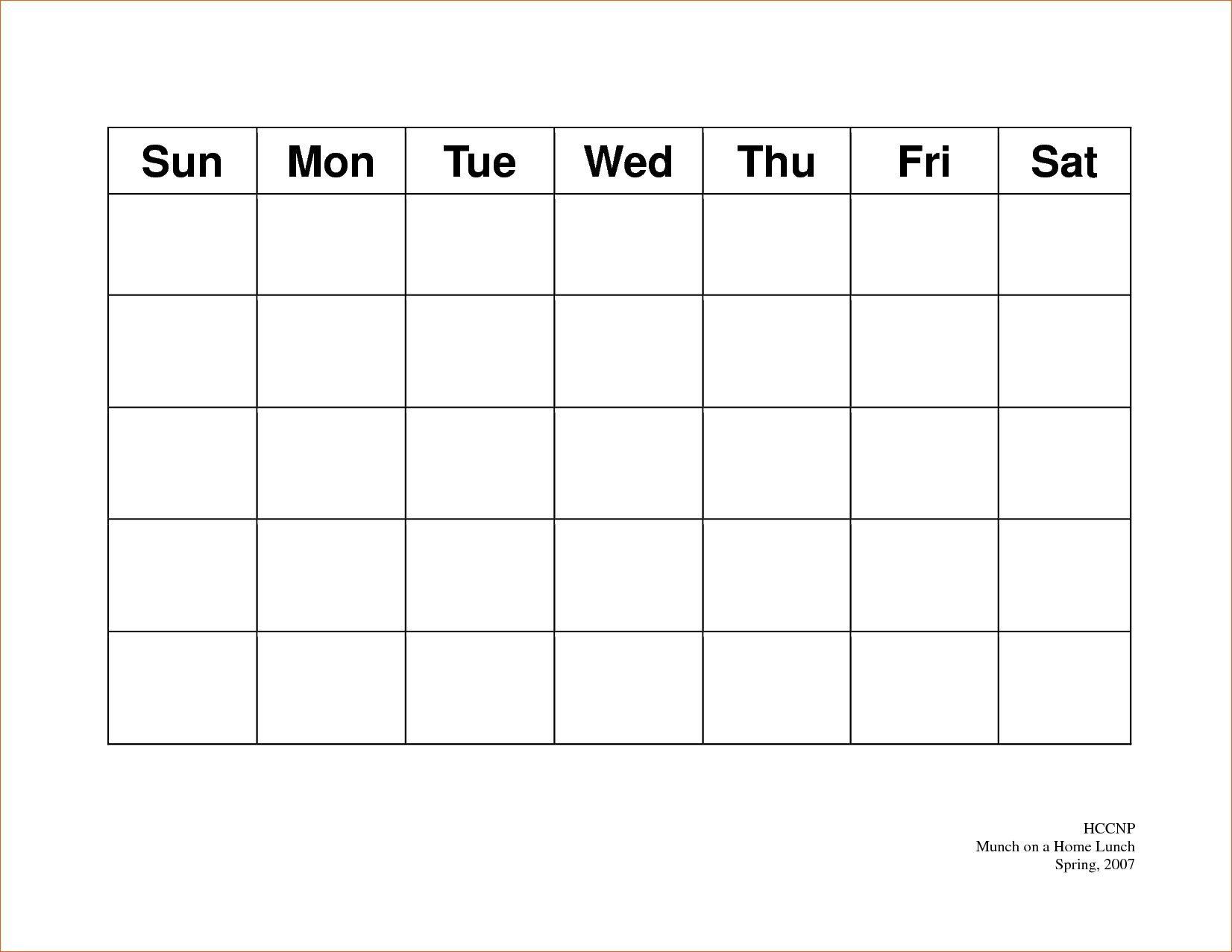 Calendar 5 Day Weekly Calendar Template On 5 Week Calendar Template