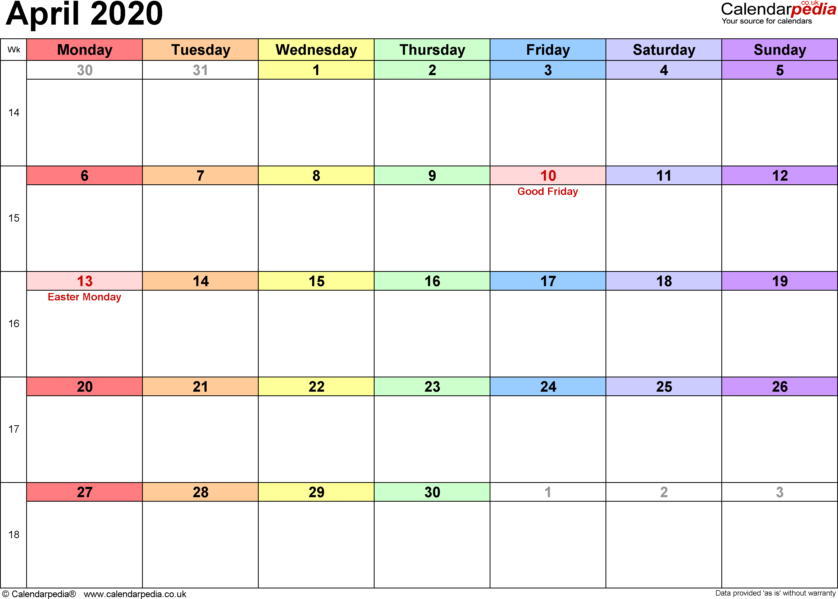 Calendar April 2020 Uk, Bank Holidays, Excel/pdf/word Templates