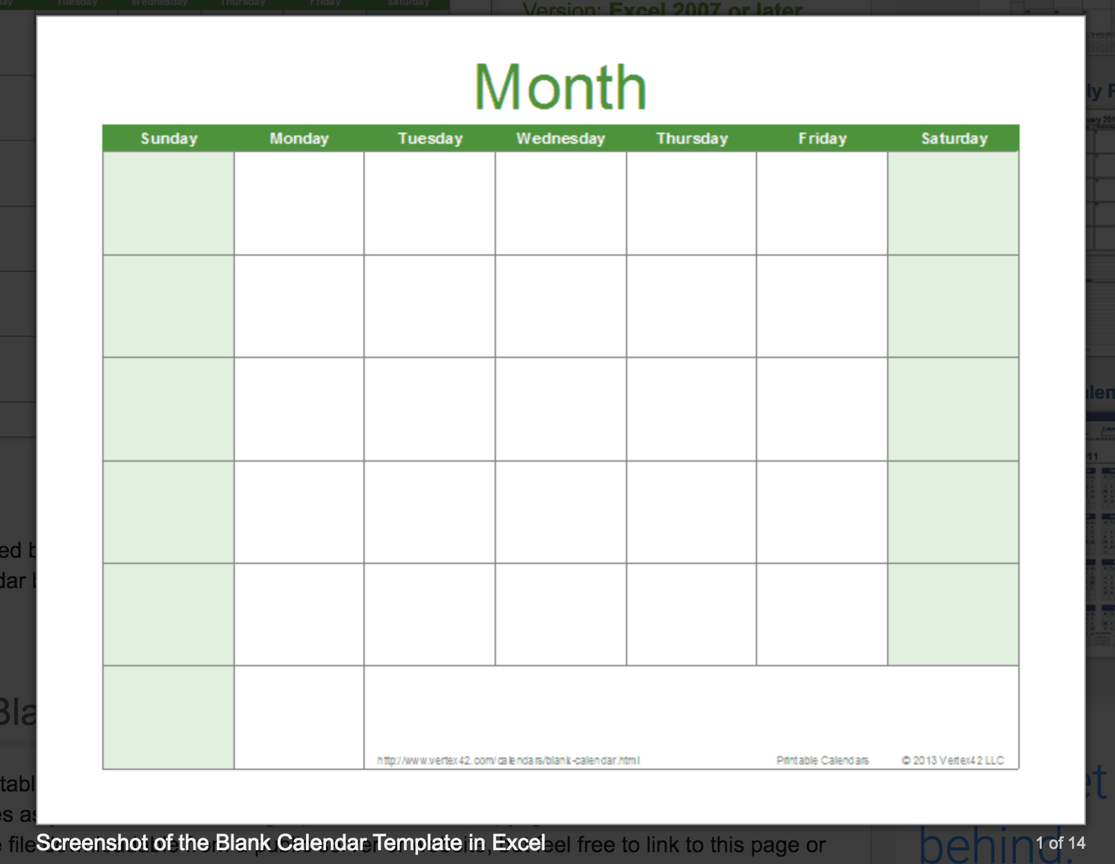 Calendar Blank Excel