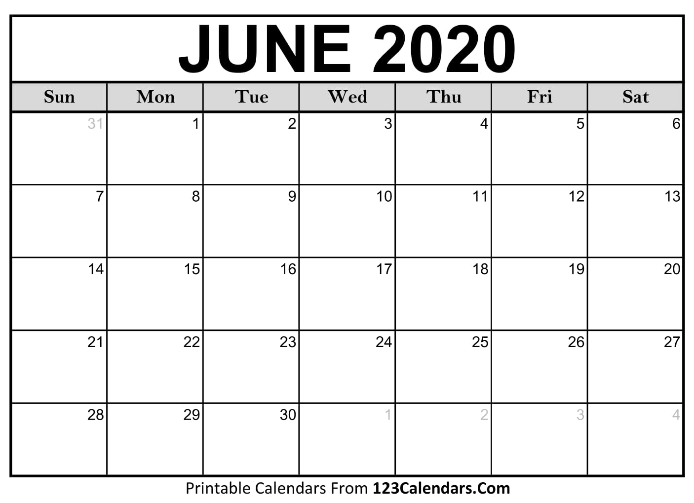 Calendar Blank June