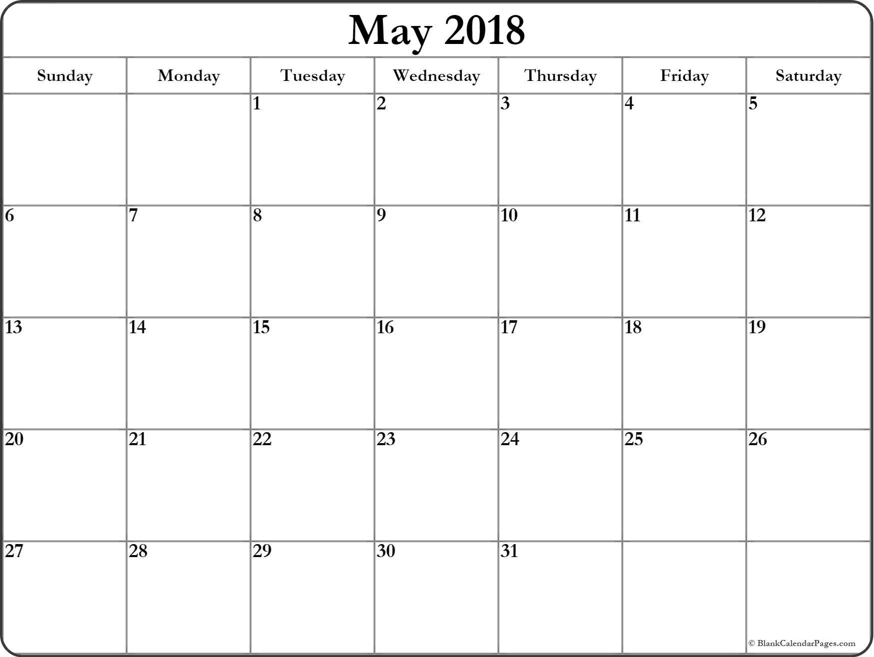 Calendar Blank May
