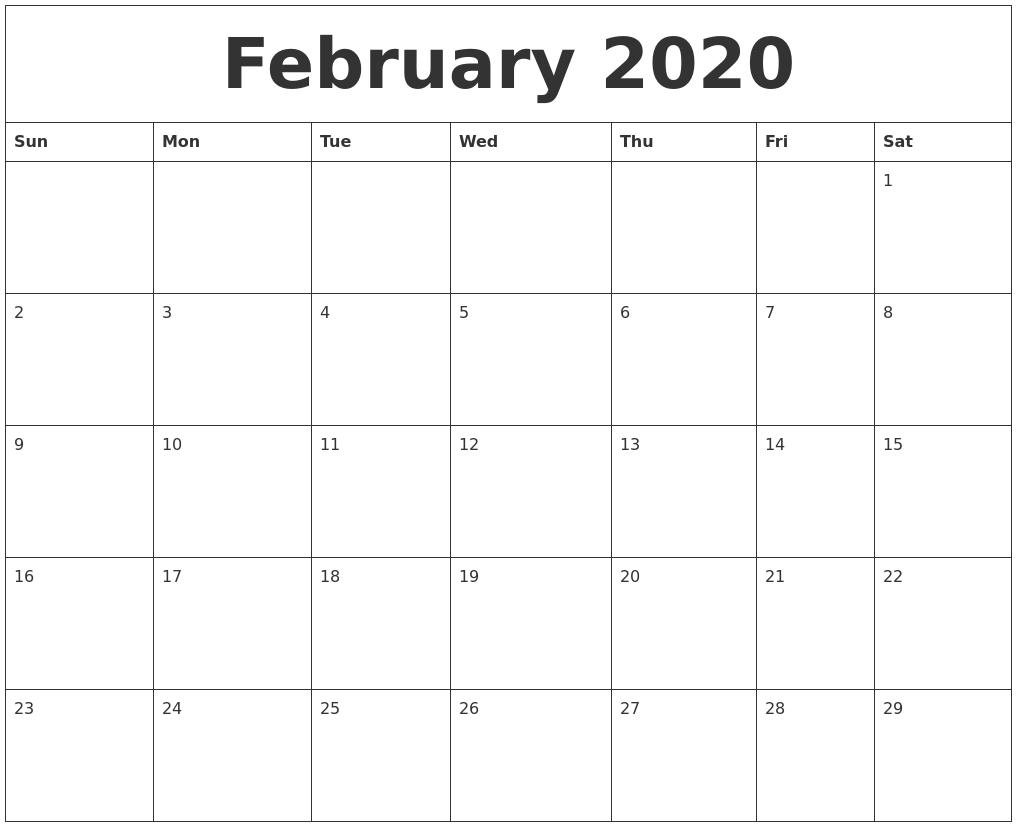 Calendar Blank Month Template
