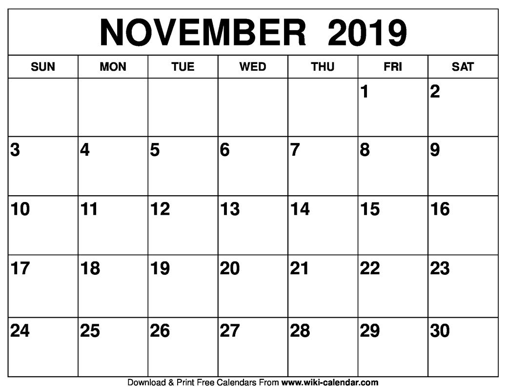 Calendar Blank November